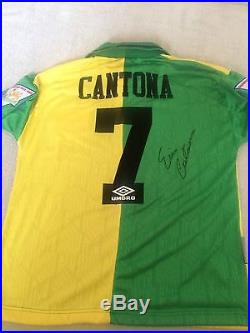Eric Cantona signed Man Utd green & yellow 2004 away shirt RARE