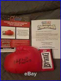 Evander Holyfield Signed & Inscr Auto Everlast Boxing Glove Psa Dna #authentic