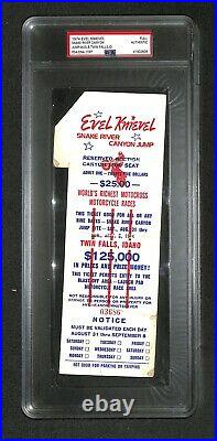 Evel Knievel DAREDEVIL SNAKE RIVER CANYON JUMP AUTO SIGNED FULL TICKET PSA/DNA