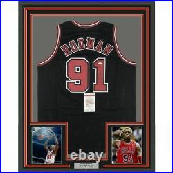 FRAMED Autographed/Signed DENNIS RODMAN 33x42 Chicago Black Jersey JSA COA Auto