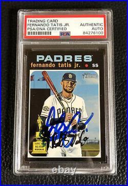 Fernando Tatis Jr Signed 2020 Topps Heritage SP Autographed Auto Card Padres PSA