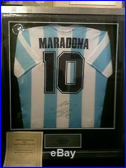 Framed Diego Maradona Hand Signed Argentina Number 10 Shirt Premium