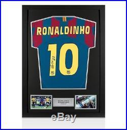 Framed Ronaldinho Signed Barcelona Shirt -2005/2006 Home Autograph Jersey