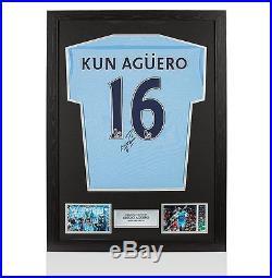 Framed Sergio Aguero Signed Manchester City Shirt 2011-12 Autograph Jersey