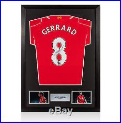 Framed Steven Gerrard Signed Liverpool Shirt 2014/2015 Number 8 Autograph