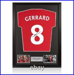 Framed Steven Gerrard Signed T-Shirt Number 8 Autograph