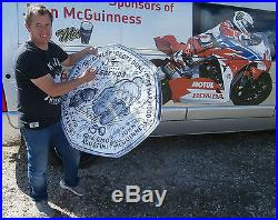 GIANT ISLE OF MAN TT 50p SIGNED BY OVER 70 INC McGUINNESS DUNLOP ANSTEY McCALLEN