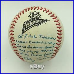 Gary Carter & Mike Piazza Signed 1999 NLCS First Pitch Game Used Baseball PSA