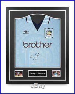 Georgi Kinkladze Signed Shirt Man City Framed Autograph Jersey Memorabilia COA