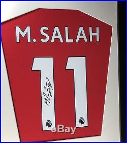 Gerrard and Salah Liverpool Signed Shirt Display with COA