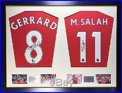 Gerrard and Salah Liverpool framed signed shirt display