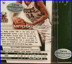 Giannis Antetokounmpo Signed 2014-15 Panini Prizm Yellow Mosaic RC #73