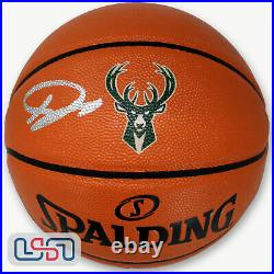 Giannis Antetokounmpo Signed Milwaukee Bucks I/O Logo Basketball JSA Auth