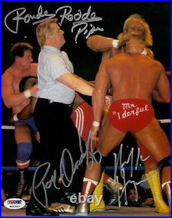 Hulk Hogan Rowdy Roddy Piper Paul Orndorff Signed Photo PSA/DNA Wrestlemania WWE