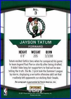 Jayson Tatum 2017-18 Panini Donruss Next Day #3 Signed Auto Rookie RC SP Celtics