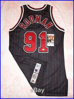 Jsa #91 Dennis Rodman Signed 1996-97 Nba 50th Champion Game Jersey Gold Logoman