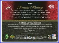 KEN GRIFFEY JR. Albert Pujols 2005 UD Premier Pairings Dual Auto 11/25 Signed SP