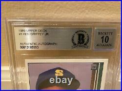 Ken Griffey Jr 1989 Upper Deck Autograph Signed RC Rookie Card #1 BAS 10 Auto