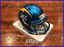 LaDainian Tomlinson Signed San Diego Chargers Blaze Mini Helmet HOF 17 JSA GTSM