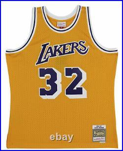 Lakers Magic Johnson Signed 1984-85 M&N HWC Swingman Yellow Jersey BAS Wit