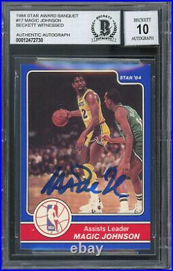 Lakers Magic Johnson Signed 1984 Star Award Banquet #17 Card Auto 10 BAS Slabbed