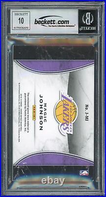 Lakers Magic Johnson Signed 2018 Crown Royale Jerseys #19 Card Auto 10 BAS Slab