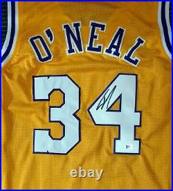 Lakers Shaquille O'neal Autographed Signed Yellow Jersey On 4 Beckett 191013