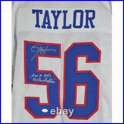 Lawrence Taylor New York Giants NFL #56 Signed Autograph Custom White Jersey JSA