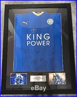 Leicester City FC Hand Signed 2015/16 Squad Framed Shirt Memorabilia COA