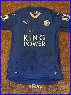 8df7456a03c Leicester City FC Hand Signed 2015/16 Squad Shirt Memorabilia Exact Proof  COA