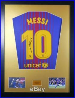 Lionel Messi 2018 Barcelona Signed Shirt Display With COA with Free Ronaldo 2018