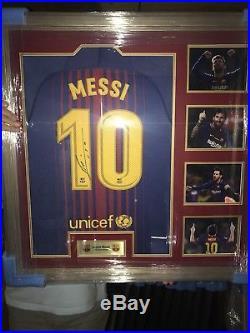 Lionel Messi Hand Signed (Back) Framed Barcelona Shirt With COA £399