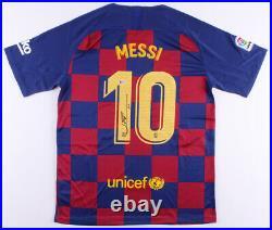 Lionel Messi Signed FC Barcelona Nike Jersey Inscribed Leo Beckett COA