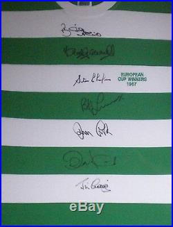 Lisbon Lions 1967 Celtic EC Winners Shirt Hand Signed by 7 AFTAL RD#175 Unframed
