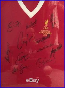 Liverpool 1977 European Cup Winners Signed/Framed Shirt 100% Authentic