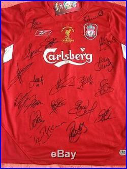 Liverpool 2005 GENUINE Champions League Winning Squad Signed Shirt