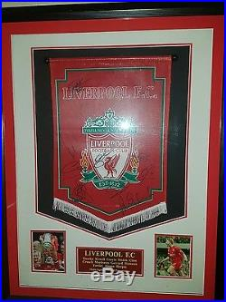 Liverpool League Cup Winning Hand Signed Team Pennant with COA ProfessioalFramed