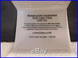 MICHAEL JORDAN AUTHENTIC FRAMED SIGNED 16x20 LEFTY COLOR PHOTO 224/300 UDA