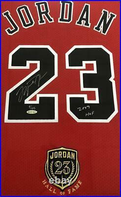 MICHAEL JORDAN Autographed Bulls 2009 HOF Authentic Red Jersey UDA LE 9/123