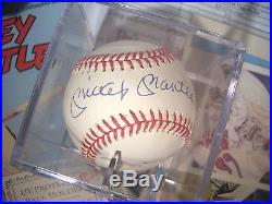MICKEY MANTLE Single Signed MLB Baseball PSA/DNA PreCert with Comics and Cards