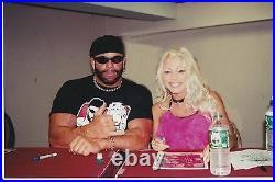 Macho Man Randy Savage & Gorgeous George Signed WCW 8.5x11 Photo BAS COA WWE NWO