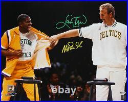 Magic Johnson & Larry Bird Authentic Signed 16x20 Retirement Photo BAS Witnessed