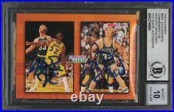 Magic Johnson & Larry Bird Signed 1993 Hoops #MB1 Card Auto 10! BAS Slabbed