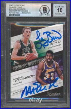 Magic Johnson & Larry Bird Signed 2012 Prestige #25 Card Auto Grade 10! BAS Slab