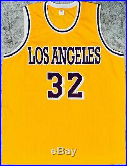 Magic Johnson Signed Gold Yellow Jersey Auto PSA DNA COA