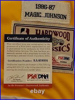 Magic Johnson Signed Los Angeles Lakers Mitchell & Ness Warm Up Jersey PSA-ITP C