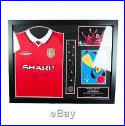 Manchester United F. C. Sheringham & Solsksjaer Signed Shirt Medal (Framed)