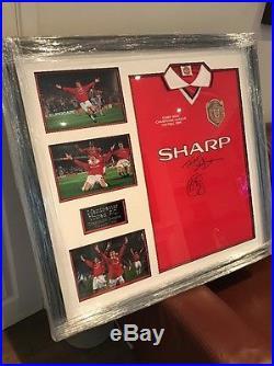 Manchester United Signed 1999 Champions League Shirt Sheringham Solskjaer Framed