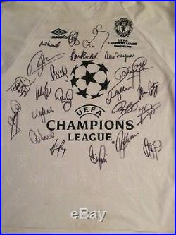 Manchester United Treble Multi Signed Shirt Champions League 99 With Guarantee