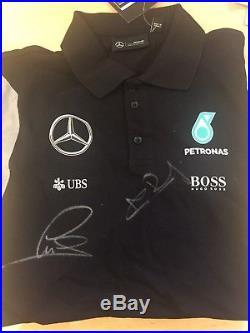 Mercedes Petronas F1 Team Hugo Boss Signed Polo Lewis Hamilton & Nico Rosberg